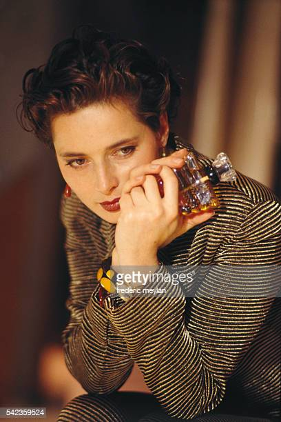 Italian actress Isabella Rossellini during the launch of perfume 'Trésor' by Lancome in their Parisian boutique