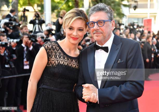 Italian actress Italian actress Jasmine Trinca and Italian actor Sergio Castellitto arrive on May 27 2017 for the screening of the film 'Based on a...