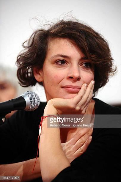 Italian actress Jasmine Trinca attends the preview of her latest film 'Un Giorno Devi Andare' of director Giorgio Diritti at Cineteca di Bologna on...