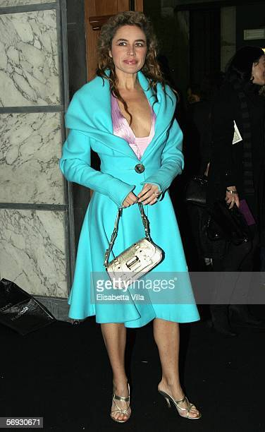 Italian actress Lory Del Santo arrives to attend the Versace show on the seventh day of Milan Fashion Week readytowear womenswear collections...