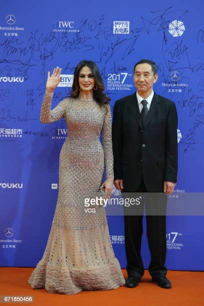 Italian actress Maria Grazia Cucinotta arrives at red carpet during the closing ceremony of 2017 Beijing International Film Festival on April 23 2017...