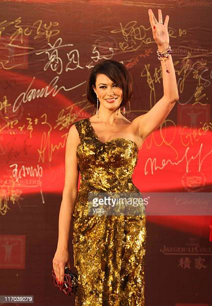 Italian actress Maria Grazia Cucinotta arrives at the red carpet of the 14th Shanghai International Film Festival closing ceremony at Shanghai Grand...
