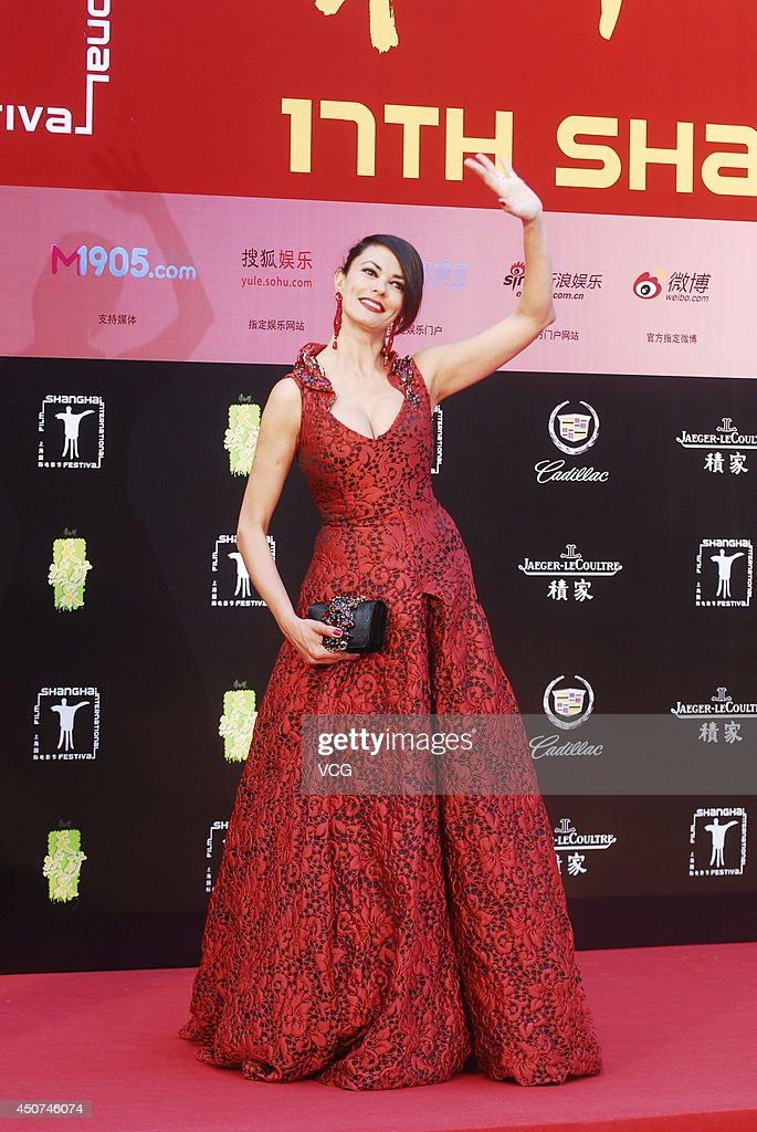 Italian actress <a gi-track='captionPersonalityLinkClicked' href=/galleries/search?phrase=Maria+Grazia+Cucinotta&family=editorial&specificpeople=236018 ng-click='$event.stopPropagation()'>Maria Grazia Cucinotta</a> arrives for the red carpet of the 17th Shanghai International Film Festival at Shanghai Grand Theatre on June 14, 2014 in Shanghai, China.
