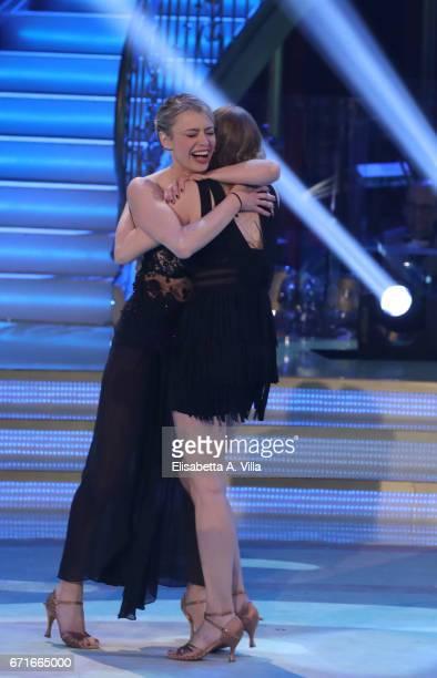 Italian actress Martina Stella and her sister Flavia Stella perform on the Italian TV show 'Ballando Con Le Stelle' at Auditorium Rai on April 22...
