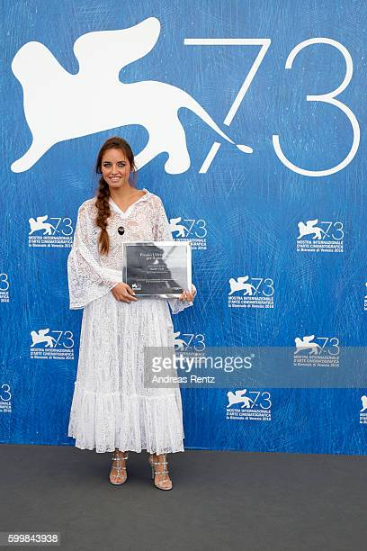 Italian actress Matilde Gioli poses with her 'L'Oreal Paris for Cinema Award' at a photocall during the 73rd Venice Film Festival at Palazzo del...