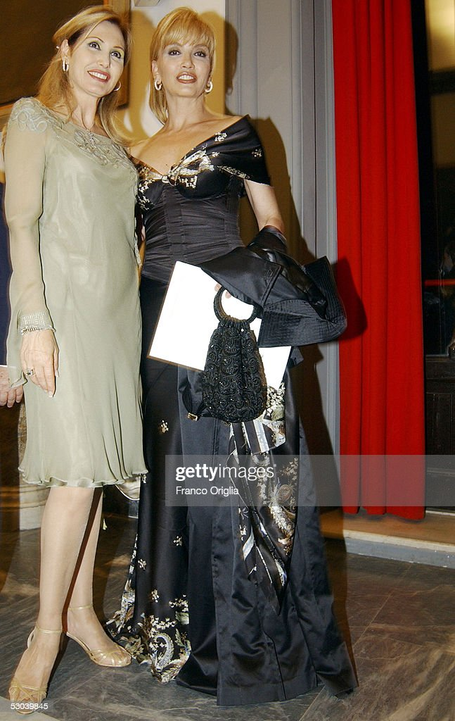 Italian actress Milly Carlucci (R) and Princess Ruspoli attend the Heart Of Children Benefit Gala at the Protomoteca Terrace at the Capitole on June 8, 2005 in Rome, Italy.