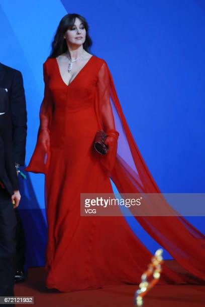 Italian actress Monica Bellucci arrives at red carpet during the closing ceremony of 2017 Beijing International Film Festival on April 23 2017 in...