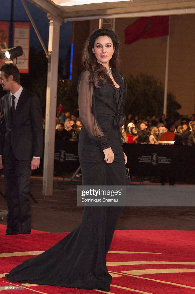Italian Actress Monica Bellucci arrives for the tribute to Hindi cinema at the 12th Marrakech International Film Festival on November 30,Marrakech International 12th Film Festival on December 1, 2012 in Marrakech, Morocco.