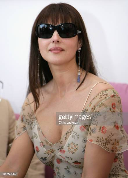 Italian actress Monica Bellucci attends the Cartier International Dubai Polo Challenge at Desert Palm Polo Club on March 30 2007 in Dubai United Arab...