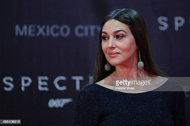 Italian actress Monica Bellucci looks on during the red carpet of the 'Spectre' film Premiere at Auditorio Nacional on November 02 2015 in Mexico...