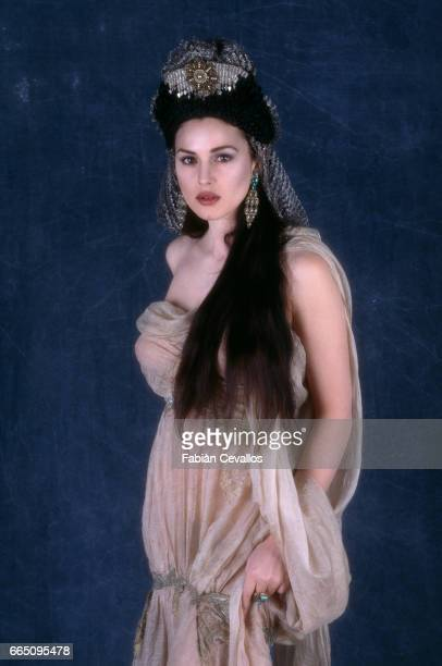 Italian actress Monica Bellucci on the set of 'Dracula' directed by American director Francis Ford Coppola and based Bram Stoker's novel by the same...