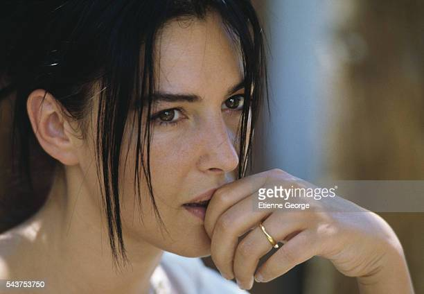 Italian actress Monica Bellucci on the set of the film 'Méditerranées' directed by French director Philippe Bérenger