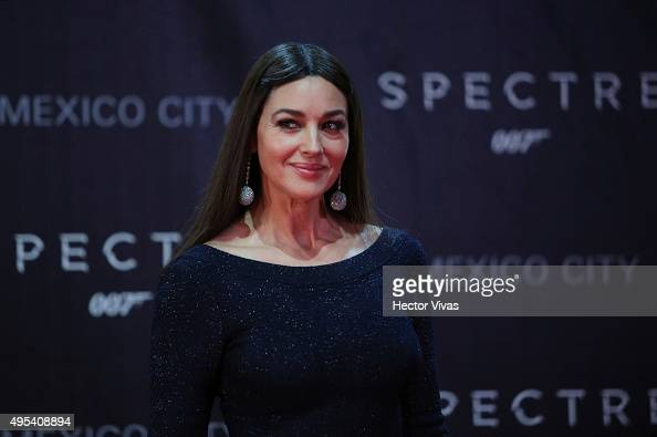 Italian actress Monica Bellucci smiles during the red carpet of the 'Spectre' film Premiere at Auditorio Nacional on November 02 2015 in Mexico City...