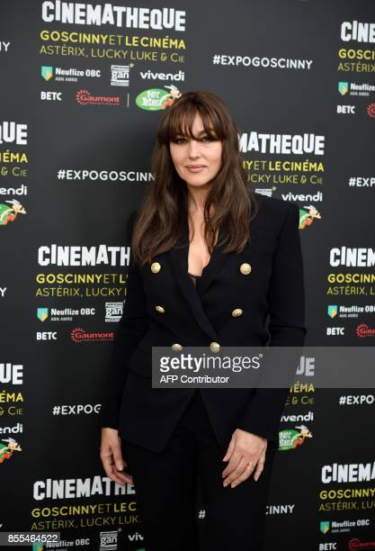 Italian actress Monica Belluci poses for a photograph during the exhibition 'Goscinny a la cinematheque' at the cinematheque Francaise on September...