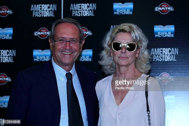 Italian actress Monica Guerritore with her husband Roberto Zaccaria during Premiere in Cinema Barberini of film 'American Pastoral' in Italy