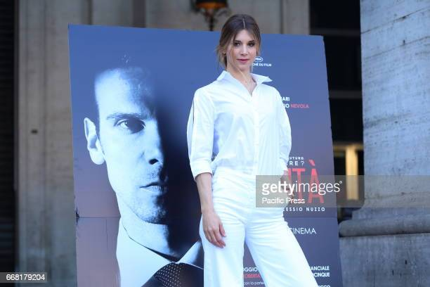 Italian actress Nicoletta Romanoff during photocall of Italian movie 'Le verità'