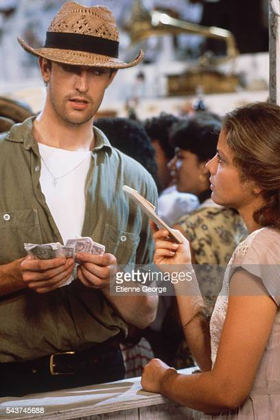 Italian actress Ornella Muti and British actor Rupert Everett on the set of the film 'Chronicle of a Death Foretold' directed by Italian director...