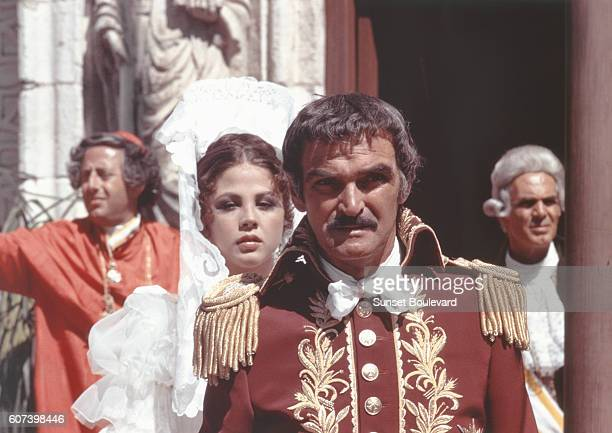 Italian actress Ottavia Piccolo and Welsh actor Stanley Baker on the set of Zorro directed by Italian Duccio Tessari