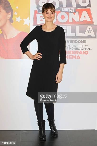 Italian actress Paola Cortellesi attends the 'Sotto Una Buona Stella' photocall at cinema Savoy on February 11 2014 in Rome Italy