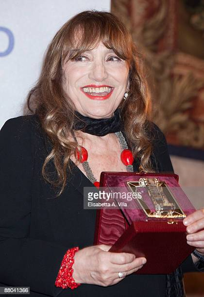 Italian actress Piera Degli Esposti shows her award during the 2009 Nastri D'Argento Nominations Dinner Party at Villa Medici on May 28 2009 in Rome...