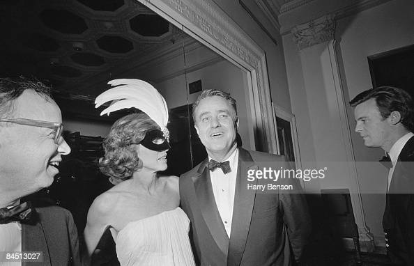 Italian actress Princess Micaela Pignatelli Cendali with her husband at Truman Capote's BlackandWhite Ball in the Grand Ballroom of the Plaza Hotel...