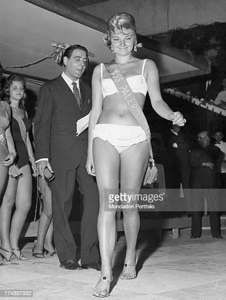 Italian actress Raffaella De Carolis taking part in the Miss Italia contest Salsomaggiore Terme 1962