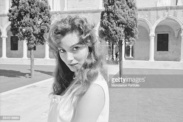 Italian actress Rosanna Schiaffino in the courtyard of a monastery at the 19th Venice International Film Festival Venice August 1958