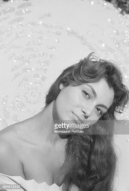 Italian actress Rosanna Schiaffino posing during the XVIII Venice International Film Festival Venice 1957