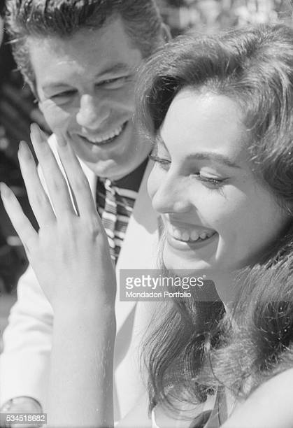 Italian actress Rosanna Schiaffino smiling beside a man at the 19th Venice International Film Festival Venice August 1958