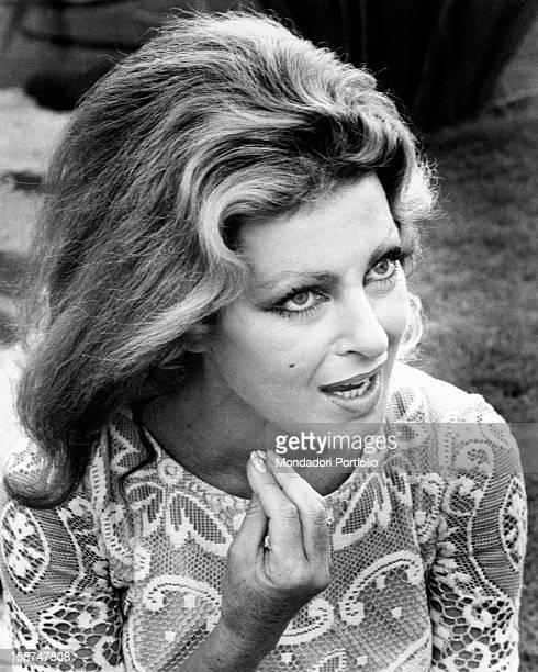 Italian actress Silvana Pampanini talking and gesticulating Rome 1970s