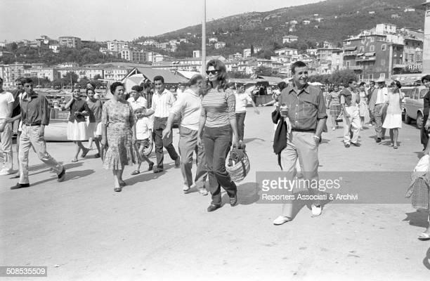 Italian actress Sophia Loren arriving in Capri with her husband film producer Carlo Ponti Capri 1961