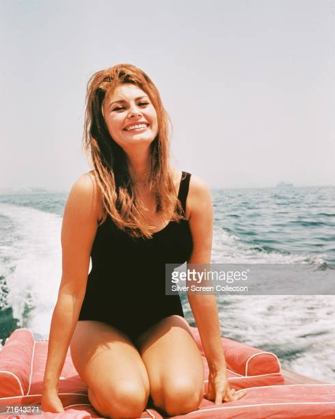 Italian actress Sophia Loren at sea on a motor boat circa 1965