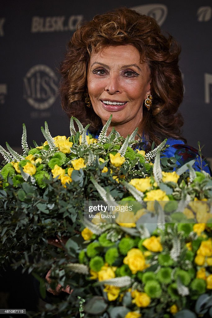 Italian actress <a gi-track='captionPersonalityLinkClicked' href=/galleries/search?phrase=Sophia+Loren&family=editorial&specificpeople=94097 ng-click='$event.stopPropagation()'>Sophia Loren</a> attends the Czech Miss 2014 beauty contest final press conference on March 28, 2014 in Prague, Czech Republic. Loren is invited as a member of a jury for the Czech Miss 2014 beauty contest final and she will crown the new Czech Miss. Final will be held on March 29.
