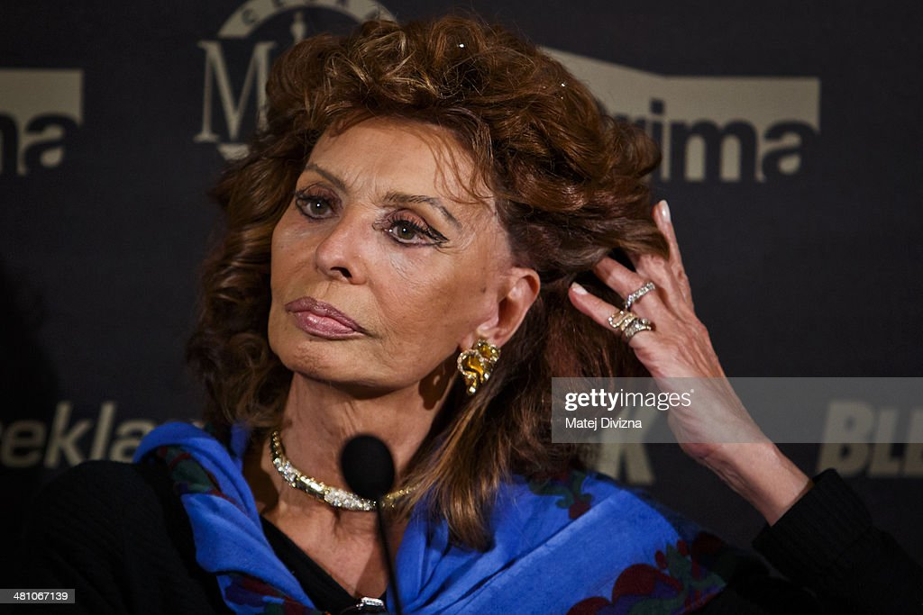 Italian actress Sophia Loren attends the Czech Miss 2014 beauty contest final press conference on March 28, 2014 in Prague, Czech Republic. Loren is invited as a member of a jury for the Czech Miss 2014 beauty contest final and she will crown the new Czech Miss. Final will be held on March 29.