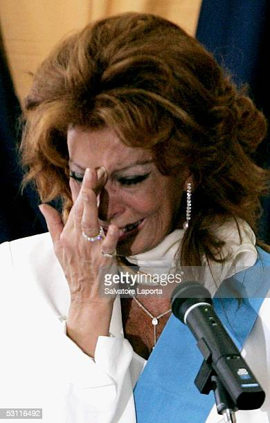 Italian actress Sophia Loren cries as she receives a Civitas Award in her home town the village of Pozzuoli June 22 2005 in Pozzuoli Italy