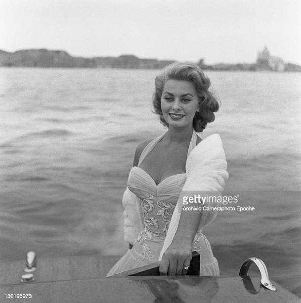 Italian actress Sophia Loren on a water taxi on the Canal Grande Venice 1955