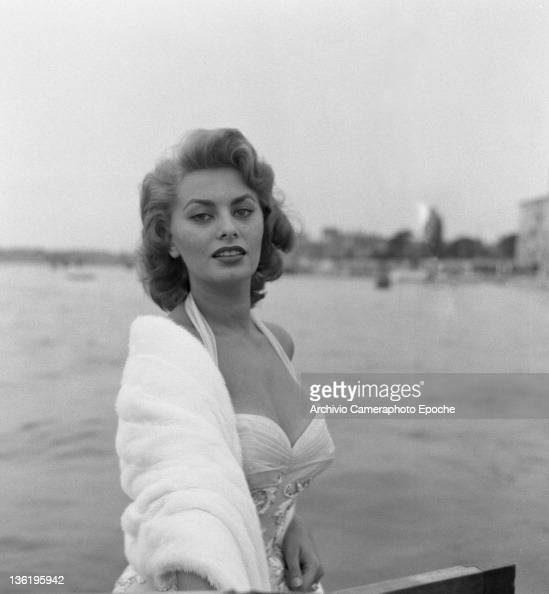 Italian actress Sophia Loren on a water taxi on the Grand Canal Venice 1955