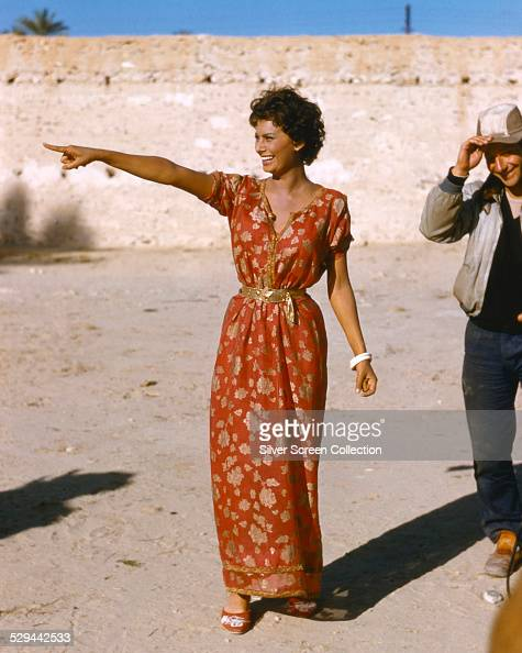 Italian actress Sophia Loren on the set of 'Legend of the Lost' directed by Henry Hathaway 1957