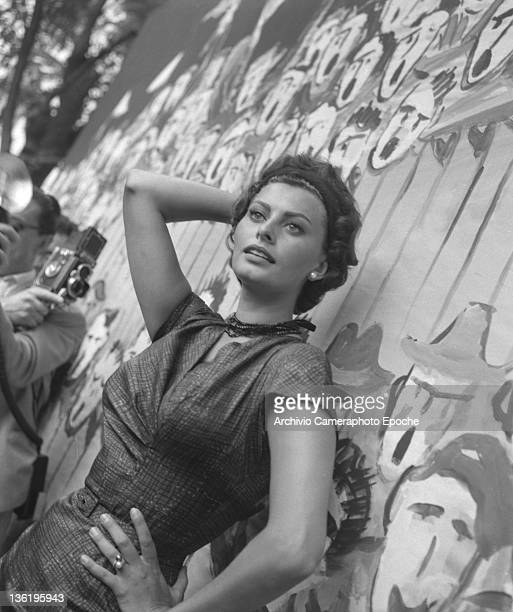 Italian actress Sophia Loren portrayed against a wall during a film shoot Venice 1958