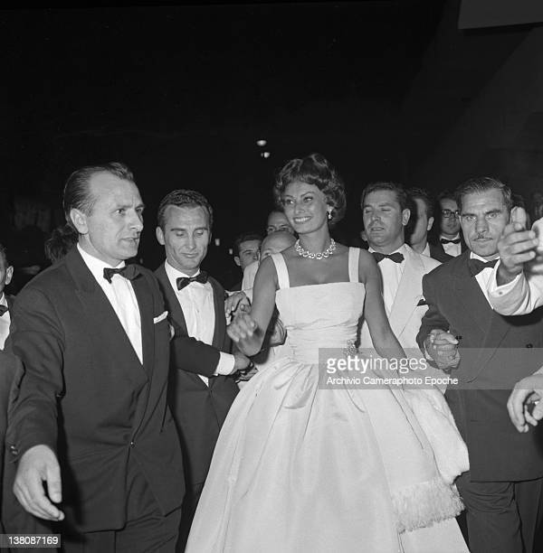 Italian actress Sophia Loren portrayed while going to an evening party at Lido Venice 1958