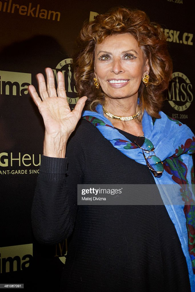 Italian actress <a gi-track='captionPersonalityLinkClicked' href=/galleries/search?phrase=Sophia+Loren&family=editorial&specificpeople=94097 ng-click='$event.stopPropagation()'>Sophia Loren</a> poses prior the Czech Miss 2014 beauty contest final press conference on March 28, 2014 in Prague, Czech Republic. Loren is invited as a member of a jury for the Czech Miss 2014 beauty contest final and she will crown the new Czech Miss. Final will be held on March 29.