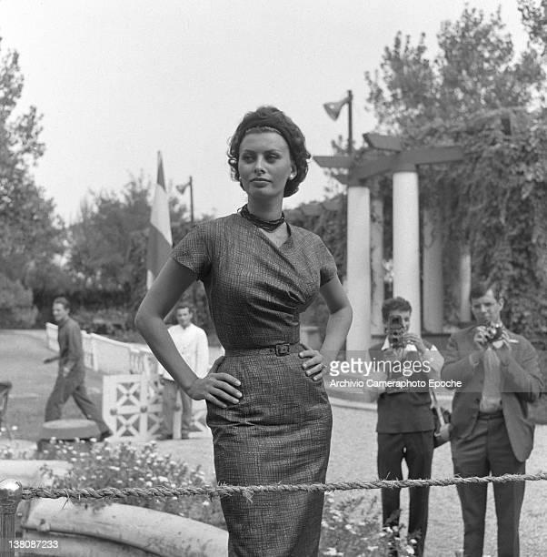 Italian actress Sophia Loren posing for the photographers Lido Venice 1958
