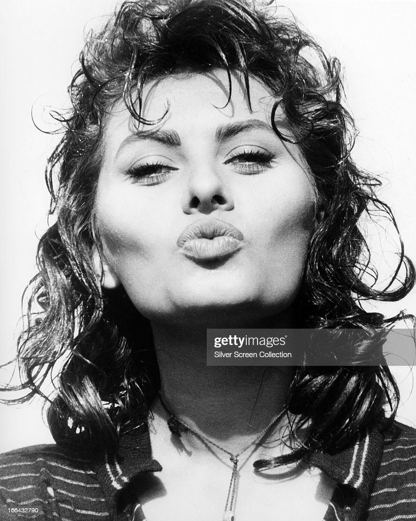 Italian actress Sophia Loren pouting for the camera during filming of 'Boy on A Dolphin' directed by Jean Negulesco 1957