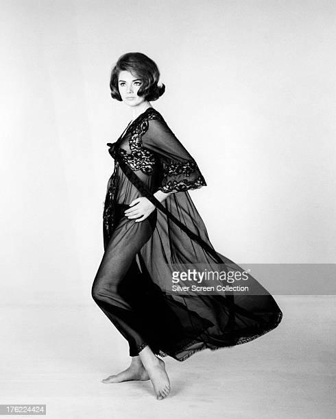 Italian actress Sylva Koscina in a black negligee circa 1965