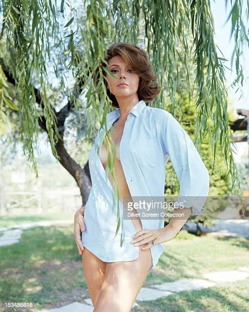 Italian actress Sylva Koscina wearing a man's shirt circa 1967