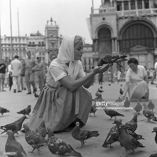 Italian actress Virna Lisi in St Mark Square Venice 1959