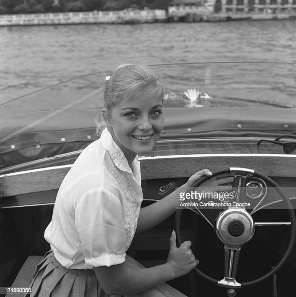 Italian actress Virna Lisi portrayed on a water taxi Venice 1959