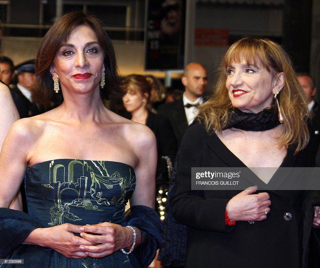 Italian actresses Anna Bonaiuto and Piera Degli Esposti pose as they arrive to attend the screening of Italian director Paolo Sorrentino's film 'Il...