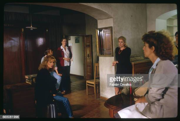 Italian actresses Giuliana De Sio Lucrezia Della Rivere Athina Cenci the Swedish actress Liv Ullman and the French actress Catherine Deneuve stand...