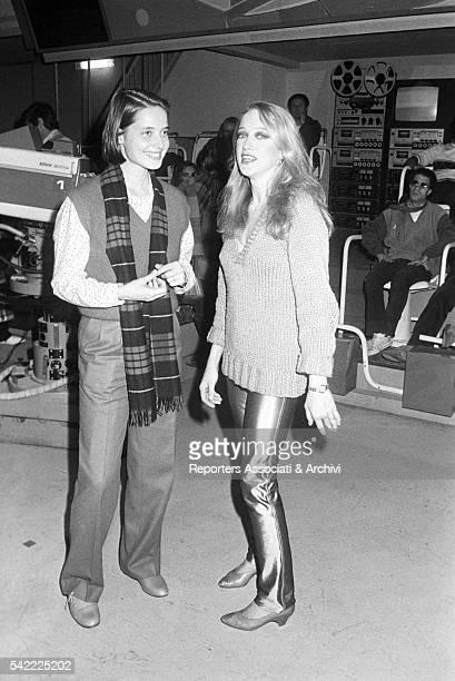 Italian actresses Isabella Rossellini and Eleonora Giorgi during the shooting of TV show L'altra domenica Rome 1977